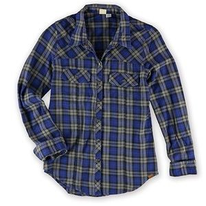 Roxy Blue And Black Plaid Snap Button Down Top